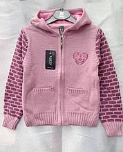 Кофта вязанная для девочки 1-2 годас капюшоном Соты