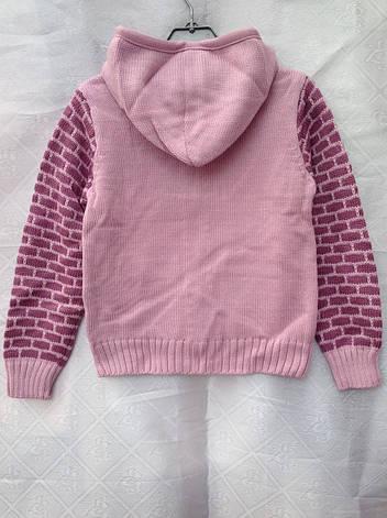 Кофта вязанная для девочки 1-2 годас капюшоном Соты, фото 2
