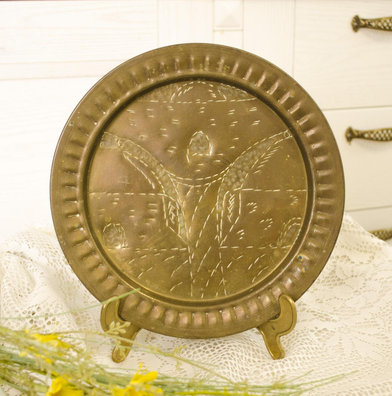 Старовинна настінна латунна тарілка, латунь, ручна робота, Індія