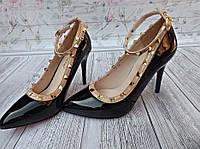 Туфли лодочки в стиле Valentino черн.