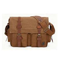 Чоловіча брезентова сумка мессенджер S.c.cotton коричневого кольору, фото 1