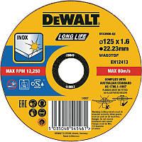 """Круг отрезной DeWALT DT43906 Long Life """"INOX"""" по нержавеющей стали, 125х1.6х22.23 мм"""