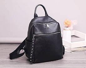 Рюкзак с двойным карманом спереди / натуральная кожа (кт2846) Черный
