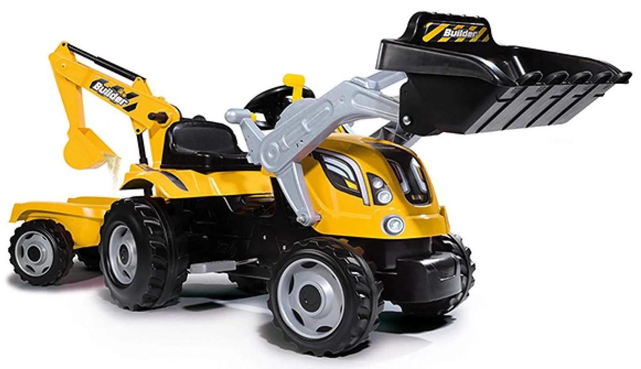 Детский педальный трактор с прицепом и двумя ковшами Smoby MAX 710301 для детей