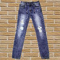 Стильные рваные джинсы  для мальчика 122-176 рост синие