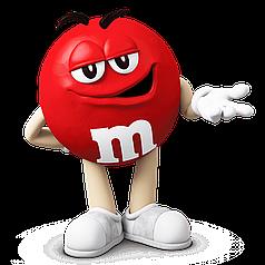 Наклейка на коробку-сюрприз M&m's червоний