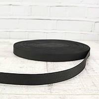 Ременная лента 20 мм черная репс для сумок a5330 (10 м.)
