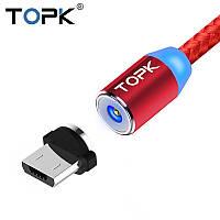 Магнитный кабель 360° USB 2.0 для зарядки с MiсroUSB. TOPK AM23.Красный
