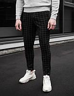 Классические чёрные мужские штаны в клетку