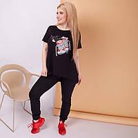 """Женский спортивный костюм """"Baskets"""" с асимметричной футболкой (большие размеры)"""
