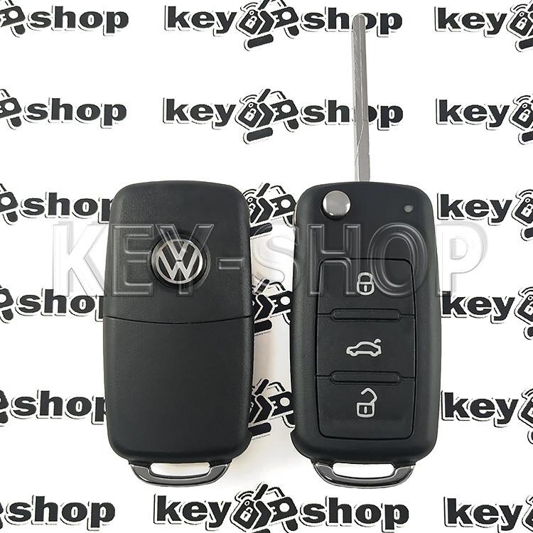 Корпус выкидного автоключа для VOLKSWAGEN (Фольксваген) с 2010 года, 3 - кнопки, лезвие HU66