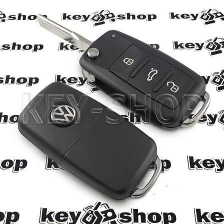 Корпус выкидного автоключа для VOLKSWAGEN (Фольксваген) с 2010 года, 3 - кнопки, лезвие HU66, фото 2