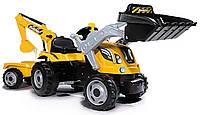 Детский педальный трактор с прицепом и двумя ковшами Smoby MAX 710301 для детей, фото 1