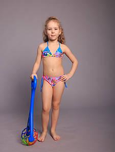 Оптом детский купальник для девочек (арт. 11-25159)  28р-36р. розово-голубой