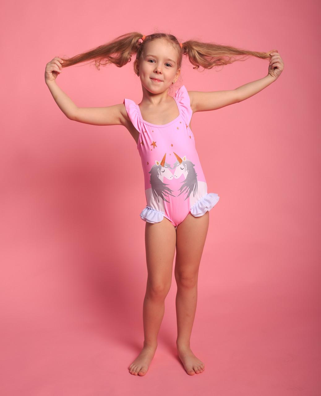 Детский слитный купальник для девочек (арт. 13-37)  28р-36р. розовый с единорогами