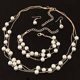 Комплект украшений серьги, браслет и ожерелье код 1206, фото 9