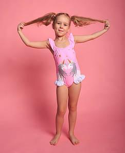 Оптом дитячий злитий купальник для дівчаток (арт. 11-37) 28р-36р. рожевий з єдинорогами