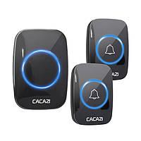 Беспроводной дверной звонок на входную дверь с 2мя кнопками вызова Cacazi W280T, 60 мелодий, до 280м