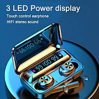 Беспроводные Bluetooth наушники F9. Индикатор заряда - LED Display. Power Bank