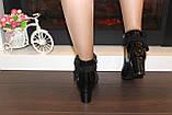 Ботильоны женские черные лаковые на каблуке Д649, фото 3