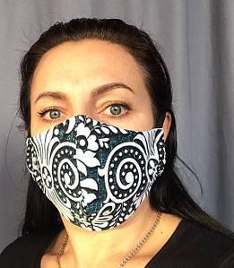 Многоразовая маска-питта с рисунками на резинках для женщин