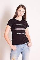 Футболка женская черная с серебристыми разрезами-вставками