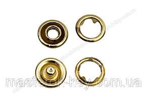 Кнопка металлическая Baby 9,5мм. Турция цвет золото (50 шт в упаковке)