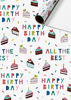 """Бумага подарочная 0,7x2,0 м """"Birthday Bash"""", гулянка на день рождения, голографическая Швейцария"""