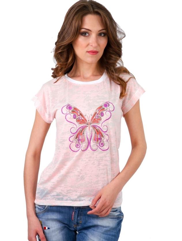 Деворе футболка женская розов летняя легкая короткий рукав хлопок 100% трикотажная Украина