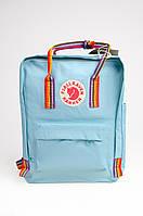 Рюкзак Fjallraven Kanken Classic Rainbow 16л Топ якість блакитний з райдужними ручками