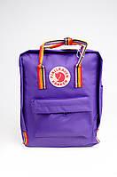 Рюкзак Fjallraven Kanken Classic Rainbow 16л Топ якість фіолетовий з райдужними ручками