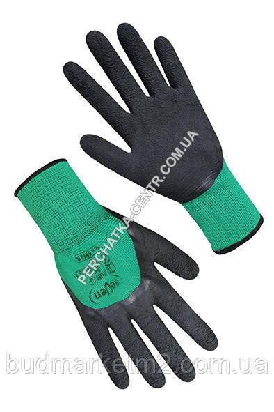 Перчатки синтетические зеленые с черным латексным покрытием