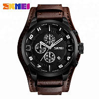 Skmei 9165 коричневые с черным дисплеем мужские классические часы