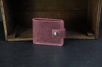 Классическое портмоне на 6 карт с застежкой Crazy Horse бордо