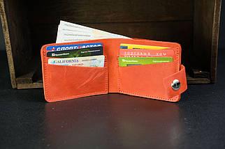 Портмоне класика на 6 карток із застібкою Crazy Horse червоний, фото 3