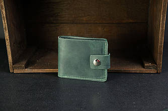 Классическое портмоне на 6 карт с застежкой Crazy Horse зеленый