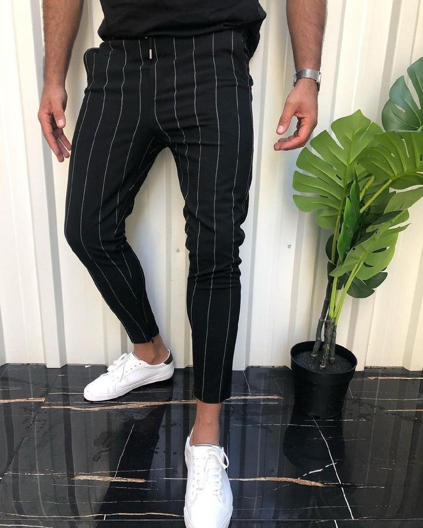 Мужские брюки штаны черные в полоскуТурция. Живое фото