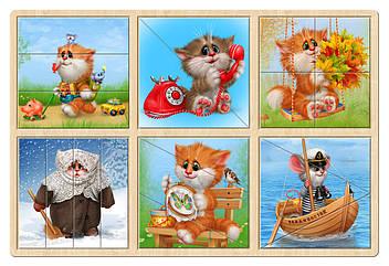Набор разрезных пазлов: Котики и мышонок