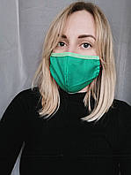 Маска защитная для лица зелёная трехслойная Atteks - 03701