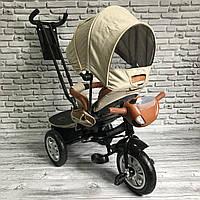 Дитячий триколісний велосипед Best Trike 5099 (БЕЖЕВИЙ), батьківська ручка і поворотне сидіння