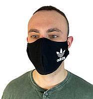 Маска багаторазова медична тканинна.Маска захисна чорна ADIDAS на обличчя,маска для рота .