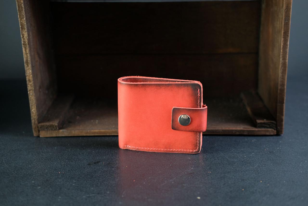 Классическое портмоне на 6 карт с застежкой Краст красный