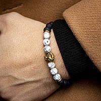 Мужской каменный браслет  lg white