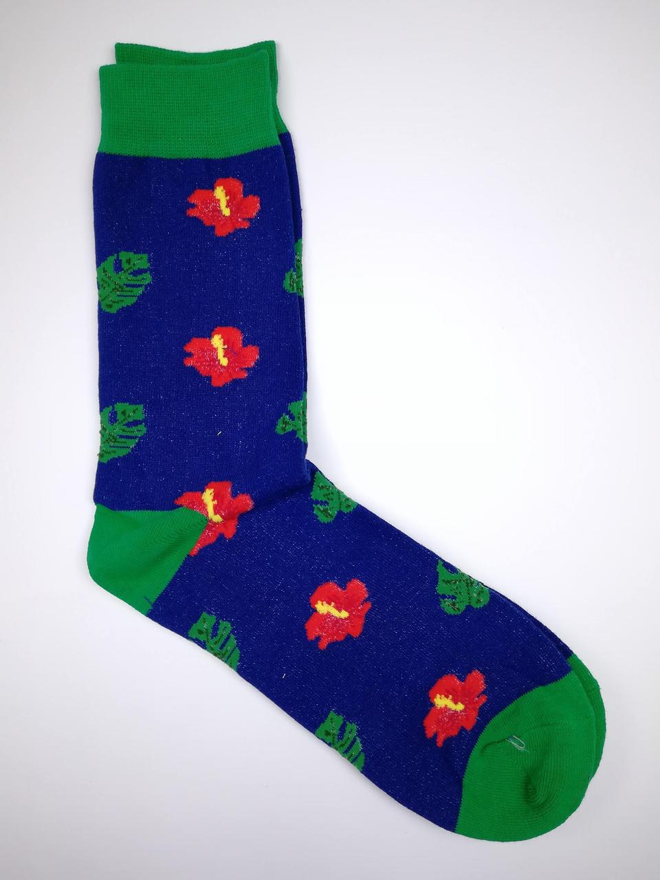 Шкарпетки з незвичайним принтом Гібіскус і монстера