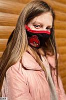 Стильная детская защитная маска черного цвета с рисунком