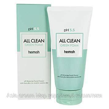 Мягкая очищающая пенка для лица Heimish All Clean Green Foam PH-5.5
