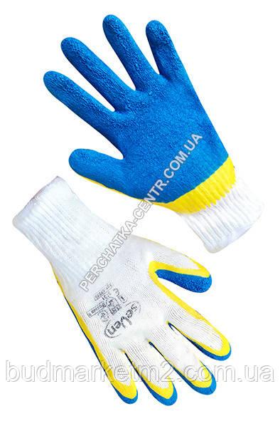 Перчатки хлопчатобумажные белые с жовтосиним вспененным неполным латексным покрытием