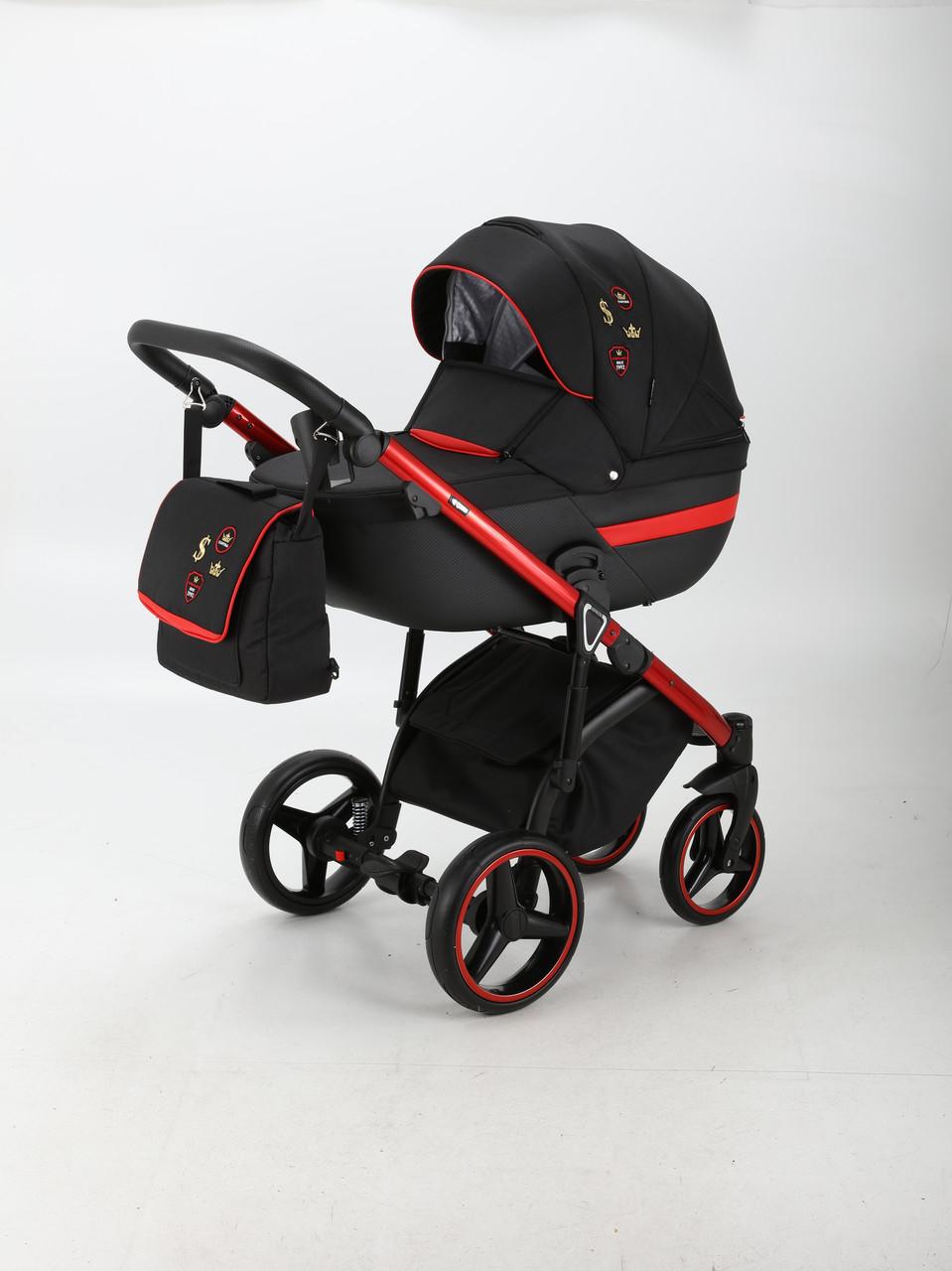 Коляска Adamex Cortina CT-403 черная (красное шасси)
