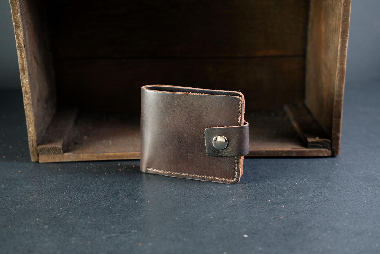 Классическое портмоне на 6 карт с застежкой Краст кофе