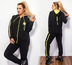 """Трикотажный спортивный женский костюм """"Тempo"""" с капюшоном (большие размеры), фото 3"""